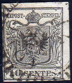 1850 - 10 cent. nero, carta a mano ...