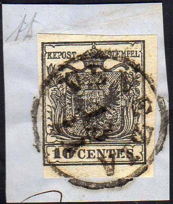 1850 - 10 cent. nero intenso, ...