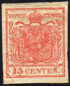 1850 - 15 cent. rosso, I tipo, ...