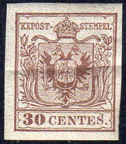 1854 - 30 cent. bruno lillaceo ...
