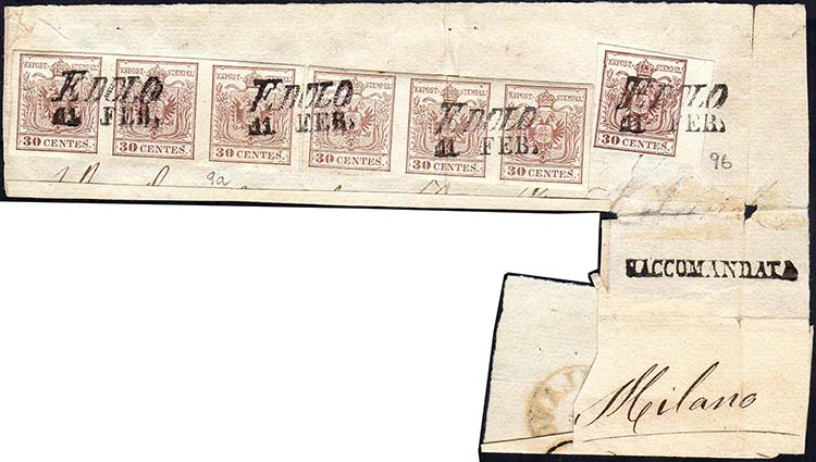 1854 - 30 cent. bruno lillaceo, II ...