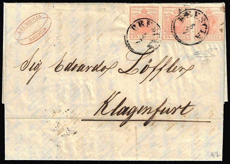1852 - 15 cent. rosa, II tipo, ...