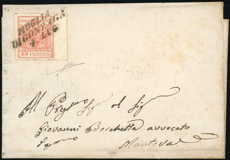 1852 - 15 cent. rosso, III tipo, ...