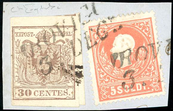 1858 - 15 cent. bruno, III tipo, ...